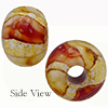 Topaz White Oro Rotto 24kt Gold Rondelle 15x10mm 5mm Hole, Murano Glass Bead