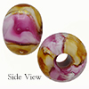 Topaz and Rubino Oro Rotto 24kt Gold Rondelle 15x10mm 5mm Hole, Murano Glass Bead
