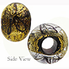 Black Spiralina 24kt Gold Rondelle 15x10mm 5mm Hole, Murano Glass Bead