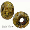 Topaz Spiralina 24kt Gold Rondelle 15x10mm 5mm Hole, Murano Glass Bead
