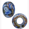 Blue Bed of Roses Rondel 6mm Hole Murano Glass Bead