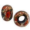 Black Bed of Roses Rondel 6mm Hole Murano Glass Bead
