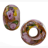 Pink Bed of Roses Rondel 6mm Hole Murano Glass Bead