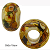 Topaz Bed of Roses Rondel 6mm Hole Murano Glass Bead