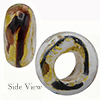 Opalino White/Gold/Black Av Veronese Rondelle 14x6mm Hole Murano Glass Bead