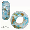 Acqua Silver with Aventurina Sprinkles Rondel 14x8  6mm Hole Murano Glass Bead