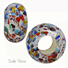Klimt Multi Sterling Silver Skinny Rondelle 14X8 6mm Hole Murano Glass Bead