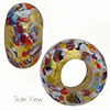 Gold Klimt Multi Skinny Rondelle 14X8 6mm Hole Murano Glass Bead