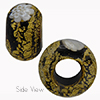 Black with White Daisy Ca'd'oro Rondell 15x10 6mm Hole Murano Glass Bead
