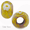 Opaque Viola with White Daisy Ca'd'oro Rondell 15x10 6mm Hole Murano Glass Bead