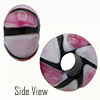 Pink and Rubino Striped Large Hole Bead 4.2mm Murano Glass Bead