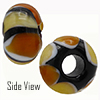 Topaz and Light Topaz Striped Large Hole Bead 4.2mm Murano Glass Bead