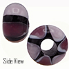 Purple and Light Purple Striped Large Hole Bead 4.2mm Murano Glass Bead