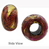 Rubino Gold Foil Rondelle 15x10mm 5mm Hole, Murano Glass Bead