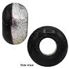 Black a Silver Rondelle 15x10mm 6mm Hole, Murano Glass Bead