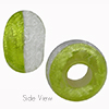 Green and Silver Bicolor Rondelle 15x10mm 6mm Hole, Murano Glass Bead