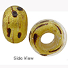 Black and Gold Foil Lacrima Rondell 15x10 6mm Hole Murano Glass Bead