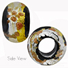 Black Luna Silver and Gold Sash Rondell 15x10 6mm Hole Murano Glass Bead