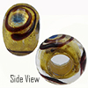 Cobalt Blue Miro 24kt Gold Sash Rondell 15x10 6mm Hole Murano Glass Bead