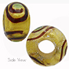 Verde Marino, Green Miro 24kt Gold Sash Rondell 15x10 6mm Hole Murano Glass Bead