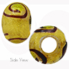 Green Miro 24kt Gold Sash Rondell 15x10 6mm Hole Murano Glass Bead