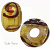 Ruby Miro 24kt Gold Sash Rondell 15x10 6mm Hole Murano Glass Bead