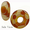 Lampwork Topaz and White Dots Rondelle 15x8mm with 6mm Hole Murano Glass Bead