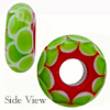 Lampwork Red and Green Dots Rondelle 15x8mm with 6mm Hole Murano Glass Bead