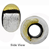 Black and Silver and Gold Rondelle 15x10mm 5mm Hole, Murano Glass Bead