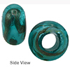 Sea Foam Aventurina Silver Rondelle 15x10mm 5mm Hole, Murano Glass Bead