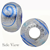Cobalt Miro Sterling Silver Foil Rondell 15x10 6mm Hole Murano Glass Bead