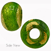 Peridot Emerald SOLE Exposed Gold Rondell 15x10 6mm Hole Murano Glass Bead
