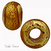 Topaz SOLE Exposed Gold Rondell 15x10 6mm Hole Murano Glass Bead