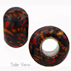 Sparkle Orange and Black Geometric Rondell 15x10 6mm Hole Murano Glass Bead