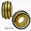 Black Clear Spirals 24kt  Rondel 15x10 6mm Hole, Murano Glass Bead