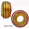 Red Spirals 24kt  Rondel 15x10 6mm Hole, Murano Glass Bead
