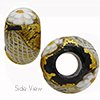 Black Zanfirico and Millefiori Daisy 15x10mm with 6mm Hole Murano Glass Bead
