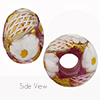 Rubino Transparent Zanfirico and Millefiori Daisy 6mm Hole Murano Glass Bead