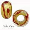 Red ZigZag 24kt Gold Foil Rondel 15x10 6mm Hole, Murano Glass Bead