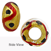 Red ZigZag Black Dots Rondell 15x10 6mm Hole Murano Glass Bead