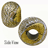 Gray with Silver Dichroic and Exterior 24kt Gold Foil Rondell 14x10 5mm Hole Murano Glass Bead