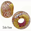 Rubino, Pink with Silver Dichroic and Exterior 24kt Gold Foil Rondell 14x10 5mm Hole Murano Glass Bead