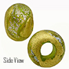 Green with Silver Dichroic and Exterior 24kt Gold Foil Rondell 14x10 5mm Hole Murano Glass Bead