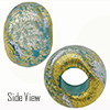 Aqua with Silver Dichroic and Exterior 24kt Gold Foil Rondell 14x10 5mm Hole Murano Glass Bead