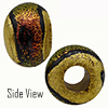 Salmon Dichroic with Exterior 24kt Gold Foil Rondell 15x10 5mm Hole Murano Glass Bead