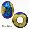 Teal Dichroic with Exterior 24kt Gold Foil Rondell 15x10 5mm Hole Murano Glass Bead