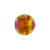 Murano Glass Bead Opalino Round Banded 14mm Rubino Green Gold Foil