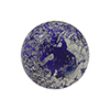 Murano Glass Ca'd'Oro Round Bead, 10mm, Cobalt Blue with White Gold