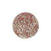 Murano Glass Ca'd'Oro Round Bead, 10mm, Rubino Pink & White Gold