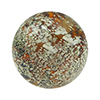 Topaz and White Gold Foil Ca'd'Oro Style Murano Glass Round Bead, 12mm